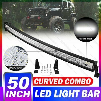 Curved 50inch 3000W CREE LED Light Bar Tri Row 4WD Work Fog Spot Flood Combo SUV