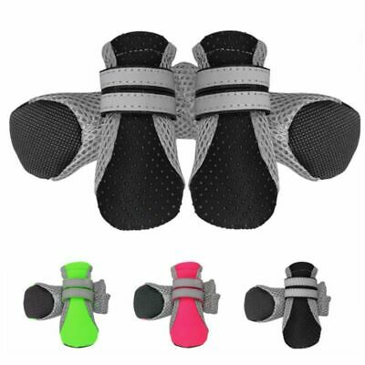 4x Dog Boots Feet Cover Waterproof Paw Protectors Shoes Strap Anti-Slip Sole Kit