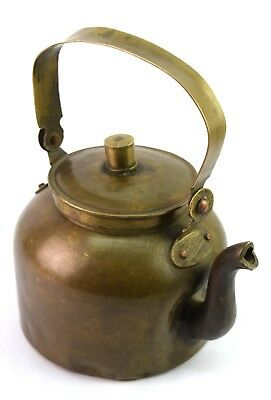 Old Indian Antique Hand Crafted Brass Kitchenware Nice Tea Pot Kettle.G66-425 AU