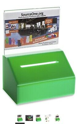 SourceOne Donation Box with Lock – 5-Inch Wide Acrylic Storage Container – Cl...