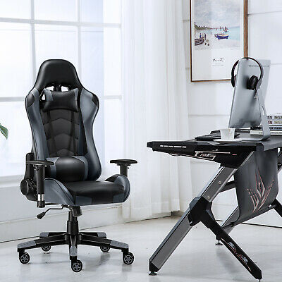 Gaming Racing Chair Computer Seat Chair PU Leather Executive Office Chair Grey