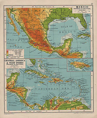 1928 Map ~ Mexico Physical & Political ~ Central America West Indies