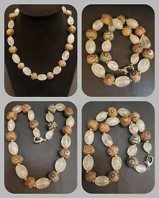 Wonderful old crystal & ancient gabree with gold plated beads beautiful necklace