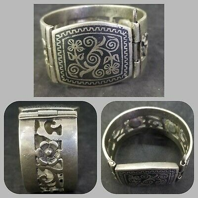 Medieval and rare silver plated bangle with anamal work lovely bangle