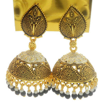Indian Bollywood Black Meena Jhumka Jhumki Dangle Earrings Wedding Women Jewelry