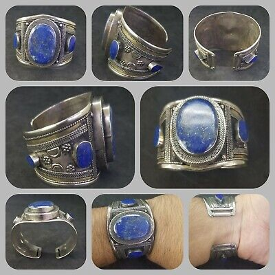 Vintage & old lapis lazuli solid silver wonderful bangle