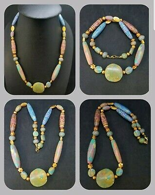 Beautiful ancient beads necklace with gold gilded beads