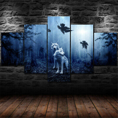 5PCS Wolf Wall Art Canvas Home Decor Prints Painting Picture Predator Forest