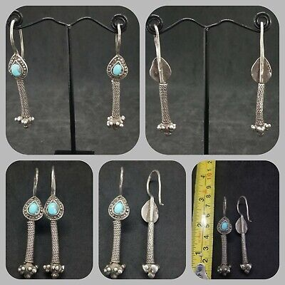 Antique and rare solid silver earring with turquoise stone beautiful earrings