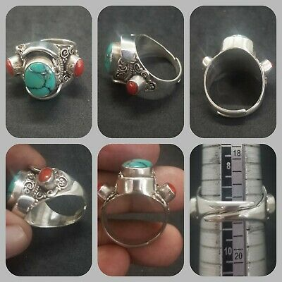 Solid silver ring with Tibetan turquoise and coral wonderful ring