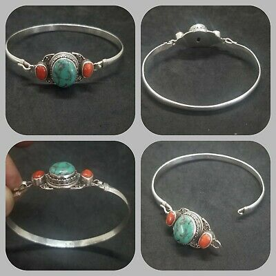 Tibetan turquoise and coral stone solid silver beautiful bangle
