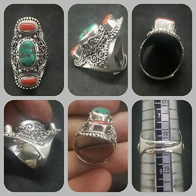 Huge solid silver ring with Tibetan turquoise and coral stone lovely ring