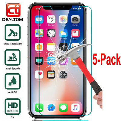 5X Tempered Glass Screen Protector Film pour iPhone XS XR XS Max X 6 s 7 8 Plus