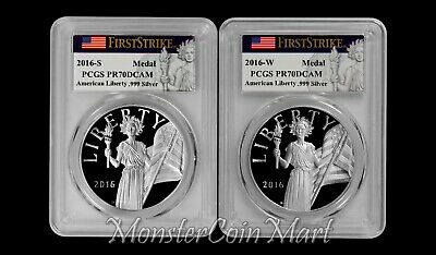 2-Coin Set - 2016-S / 2016-W American Liberty Silver Medals (PCGS-PR70DCAM FS)