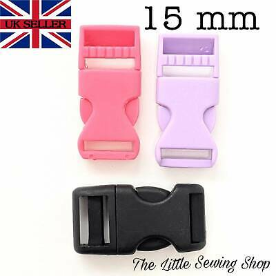 15mm Quick Side Release Buckles Plastic Fasteners For Webbing Straps Pack of 2