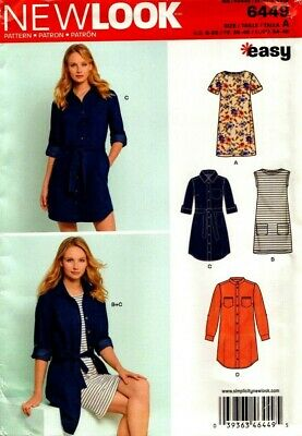 New Look Sewing Pattern 6449 Womens Dress Shirt Dress Size 8-20 NEW