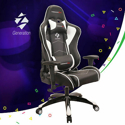 White Gaming Racing Chair Ergonomic Office Sport Z-Generation ECO Leather