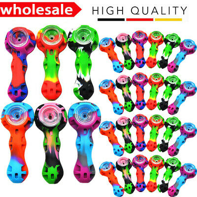 "4"" Silicone Tobacco Pipe With Glass Bowl Tool & Stash Container Random Color NEW"