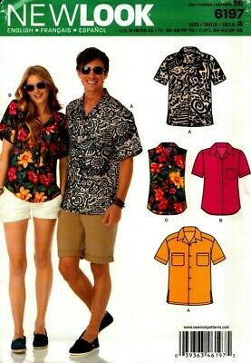 New Look Sewing Pattern 6197 Womens Mens Shirts Size 8-18/XS-XL NEW