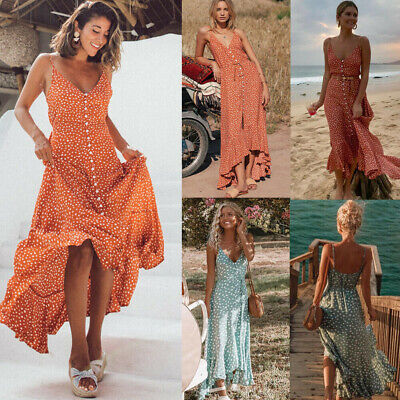UK Women Boho Floral Long Maxi Dress Evening Party Beach Dresses Summer Sundress