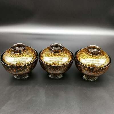 Japanese Vintage Kinma Lacquered Lidded Soup Bowl Set Of 3/Plasstic