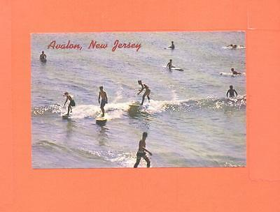 Oo Postcard Surfing Time Aualon New Jersey