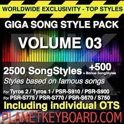 Giga Pack Vol 03 3000 Songstyles Song Styles Pour Yamaha Tyros Tyros 2 Psr-S900