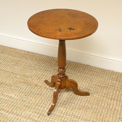 Country House Oak Antique Victorian Tripod Wine / Lamp Occasional Table
