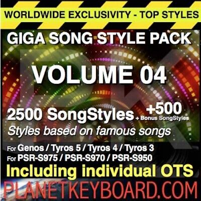 Giga Pack Vol 04 3000 Songstyles-Song Styles Pour Yamaha Genos Tyros 5 Psr-Sx900