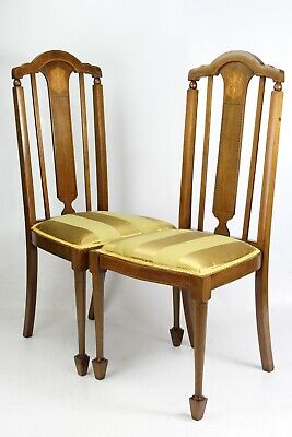 Pair Antique Edwardian Mahogany Side Chairs -Hall Kitchen Dining Dressing Chair