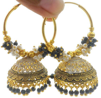 Indian Bollywood Black Fashion Jhumka Jhumki Earrings Wedding Women Jewelry