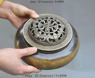 """8""""Marked Old Chinese pure bronze Bat""""壽""""Wealth Lucky Statue Incense burner Censer"""