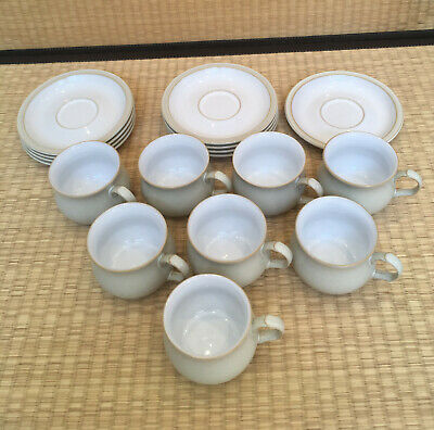 Denby Pottery - Tea Cup and Saucer 'Linen' set of 8