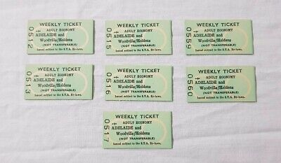 7 x Vintage STA Train Tram Tickets Adelaide & Woodville Holdens (GMH Collector?)