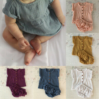 Toddler Baby Girl Clothes Dress Tops+Tutu Shorts Outfit Sunsuit 0-24M Summer AU