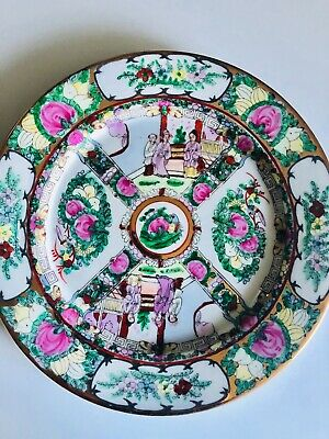 HAND PAINTED PLATE Vintage Chinese Collectible Medallion Macau Chinoiserie Decor