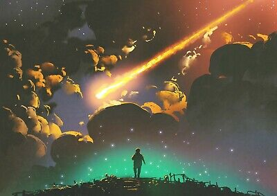 Cool Meteor Shower Poster Size A4 / A3 Shooting Star Fantasy Poster Gift #14039