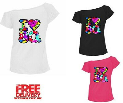 e784066b5 Womens Ladies I Love The 80s Multi T-Shirt 80's Outfit Fancy Dress Up Party
