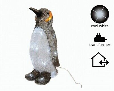 Outdoor Penguin Christmas Decoration - Light Up Cool White Led's - 43cm Tall