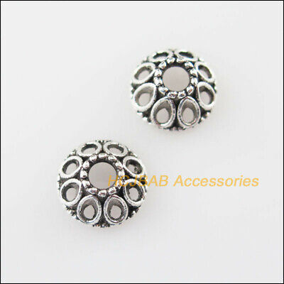 70 New Hollow Flower Connectors Tibetan Silver Tone End Bead Cap 8mm