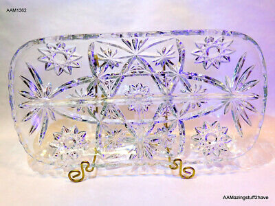 VTG Clear Cut 3 Section Ruffle Oval Relish Hors d'oeuvre Appetizer Relish Dish 1