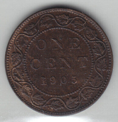 1905 Canada ICCS Graded Large One Cent Coin - A U 55