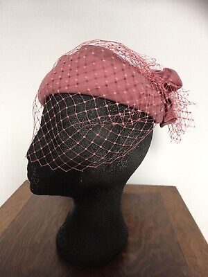 Vintage Dusty Pink Face Veiled Pill Box Hat by C&A  UNWORN