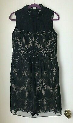Yoana Baraschi Anthropologie Size 10 12 Black Lace Overlay Nude Dress