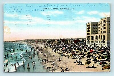 Hermosa Beach, CA - c1940s WIDE VIEW OF BEACH FRONT & SURF BATHERS - POSTCARD