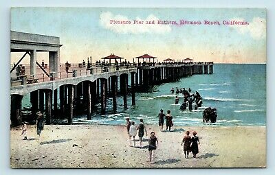 Hermosa Beach, CA - EARLY 1900s VIEW OF PIER & SURF BATHERS - POSTCARD