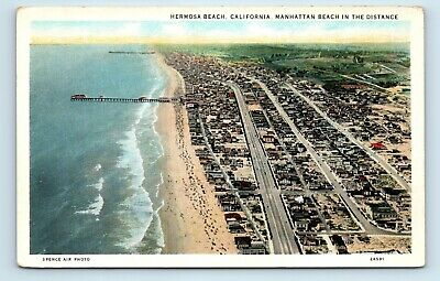 Hermosa Beach, CA - EARLY 1900s SPENCE AERIAL - MANHATTAN IN DISTANCE - POSTCARD