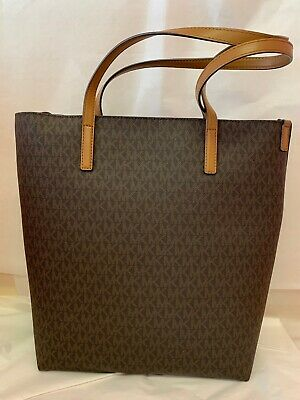 d9c60476173c MICHAEL KORS HAYLEY Large North South Vanilla Acorn Leather Tote Bag ...