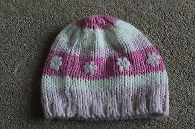 Girls Chunky Knit winter Hat Pink Striped with flowers Age 6-11 Years Approx