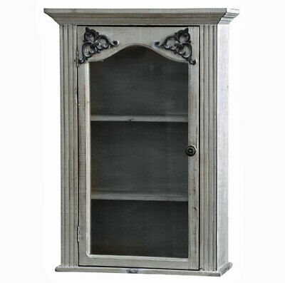 French antique style shabby chic glazed bathroom bedroom wall cabinet